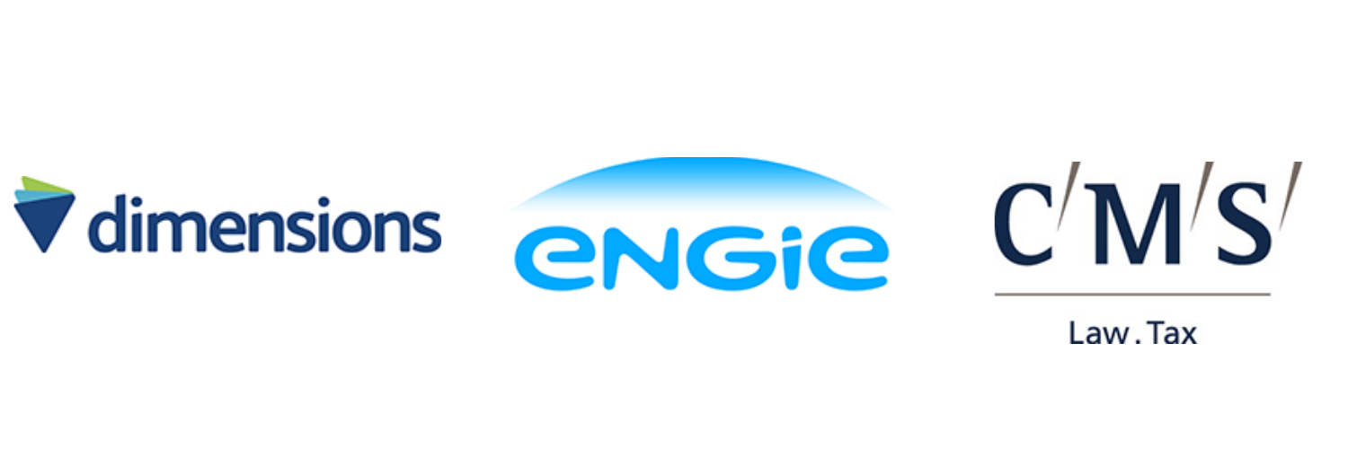 Dimensions, Engie and CMS Law logos