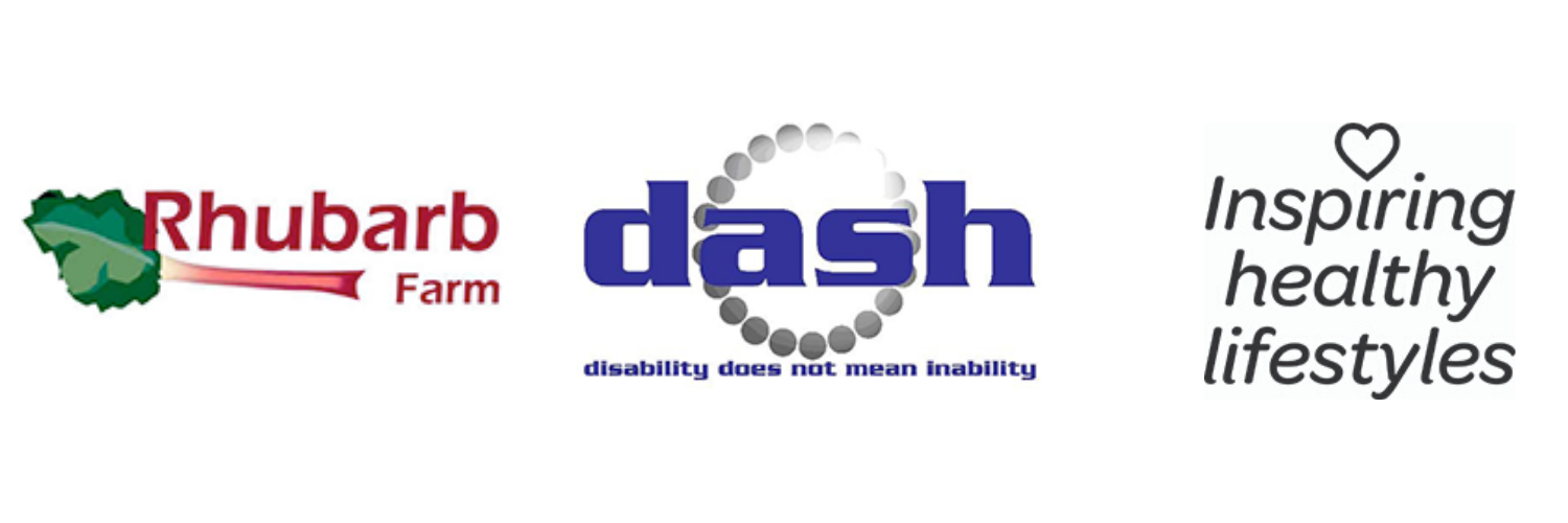 Rhubarb Farm, Dash Charity and Museum of Cannock Chase logos