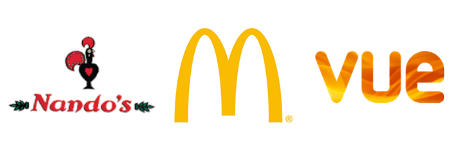 McDonalds, Nando's and Vue logos