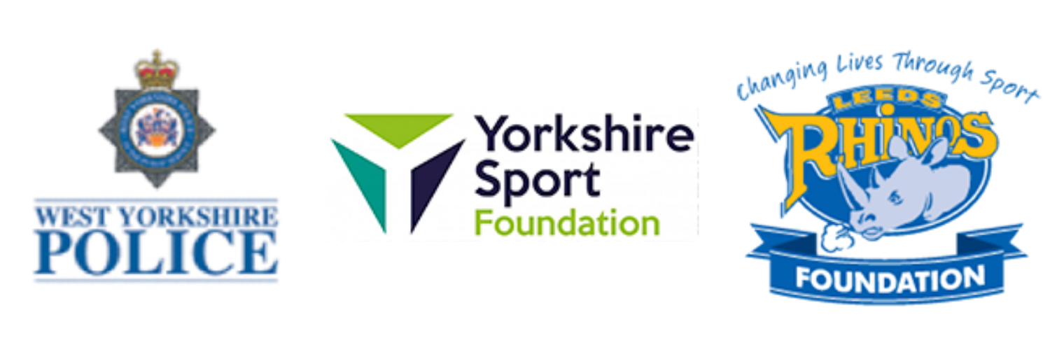 West Yorkshire Police, Yorkshire Sport Foundation and Leeds Rhinos Foundation logos