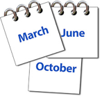 "Calendars with words ""March"", ""June"" and ""October"" written on them"