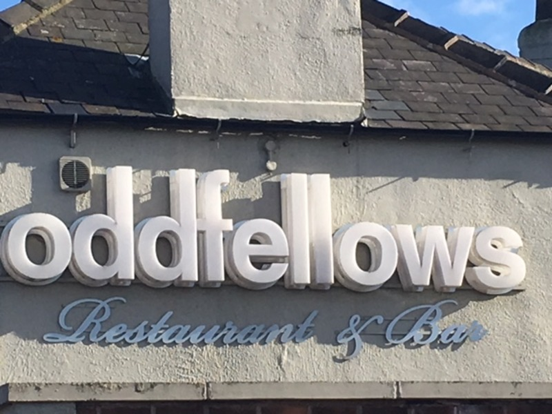 Oddfellows Restaurant and Pub sign