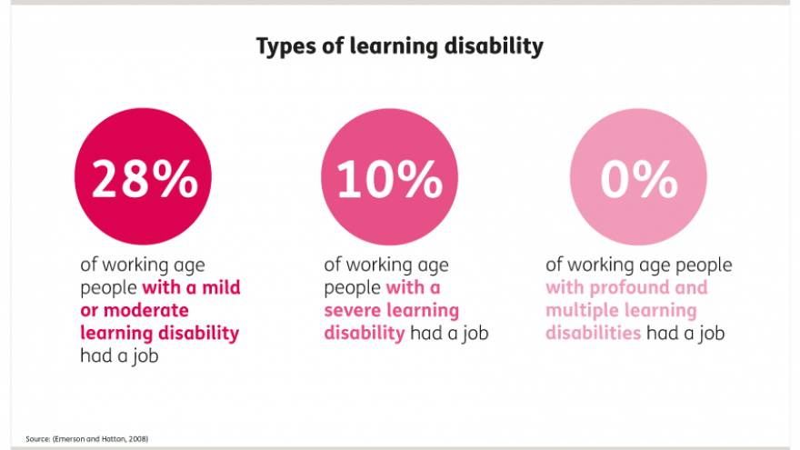 Graphic to show in 2008 28% of working age people with a mild or moderate learning disability had a job, 10% of working age people with a severe learning disability had a job and 0% of working age people with profound and multiple learning disabilities had a job.
