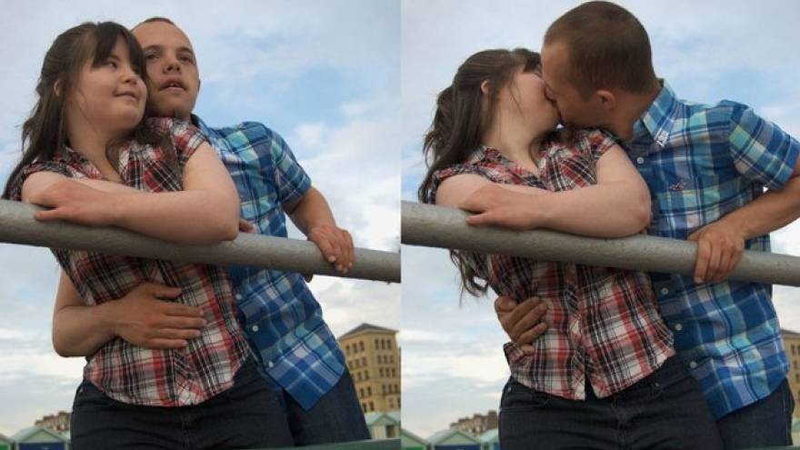 Two images of a young couple with their arms around each other, kissing