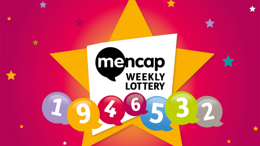 "Cartoon image of a yellow star within which there is the text ""Mencap weekly lottery"" against a pink background with numbered lottery balls beneath"