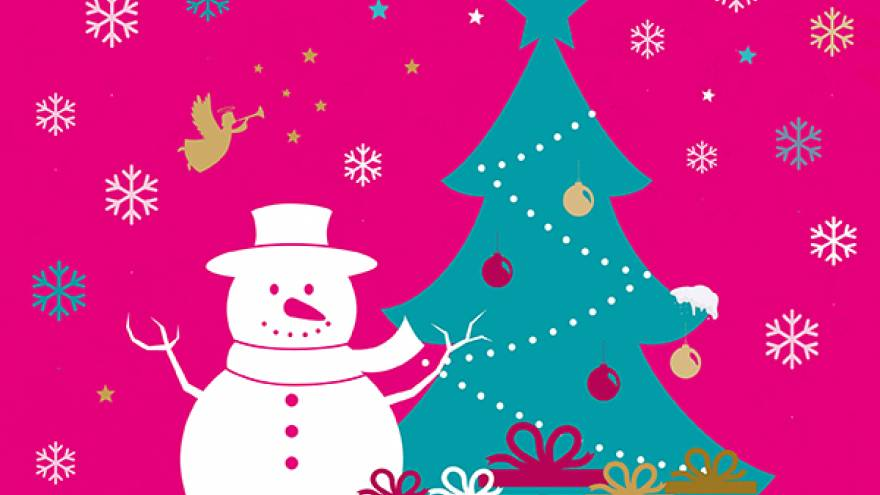Cartoon image of a snowman in front of a Christmas tree with presents on the ground.