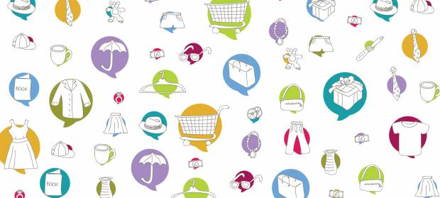 Cartoon image with lots of colourful circles, in which are items you might find at a shop
