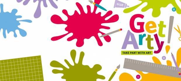 "Cartoon image of paint splatters, a ruler and paintbrush, with text that reads ""Get Arty!"""