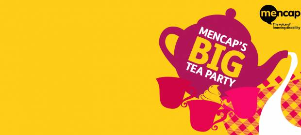"Cartoon image of a tea pot with text on it that reads ""Mencap's Big Tea Party"""
