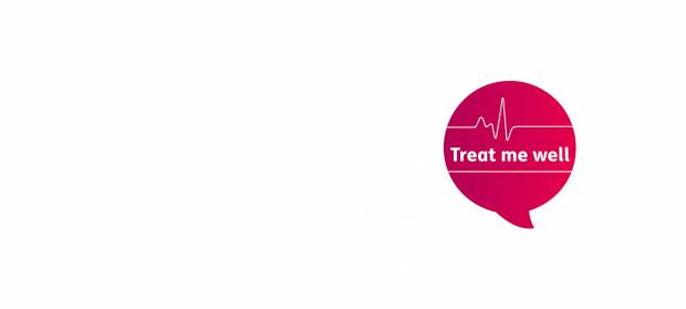 "Pink speech bubble with text reading ""Treat me well"", on white background."