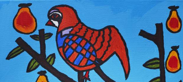 Hand painted image of a bird
