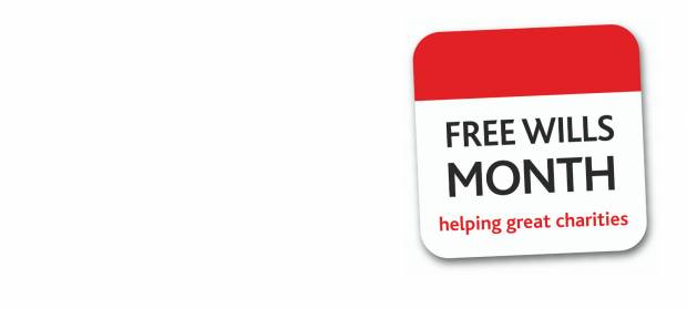 "Sign that reads ""Free Wills Month, helping great charities""."