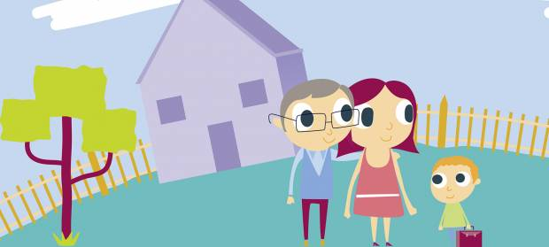 Cartoon image of parents with their young child stood in a garden in front of their home.